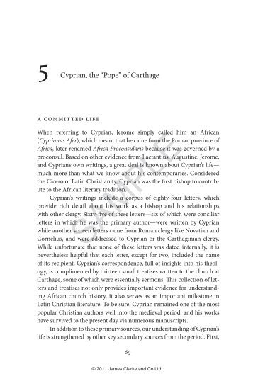 """Chapter 5: Cyprian, the """"Pope"""" of Carthage - James Clarke and Co Ltd"""