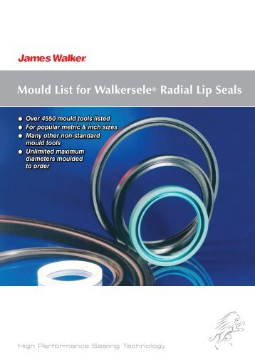 Mould List for Walkersele® Radial Lip Seals - James Walker