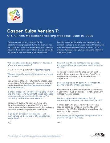 MacEnterprise.org, Casper Suite 7 Webcast Q & A ... - JAMF Software