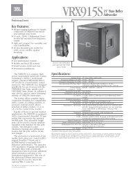 VRX915S Spec Sheet - JBL Professional