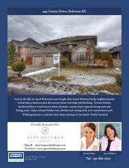 Tel: 250-860-7500 444 Cascia Drive, Kelowna BC - Jane Hoffman