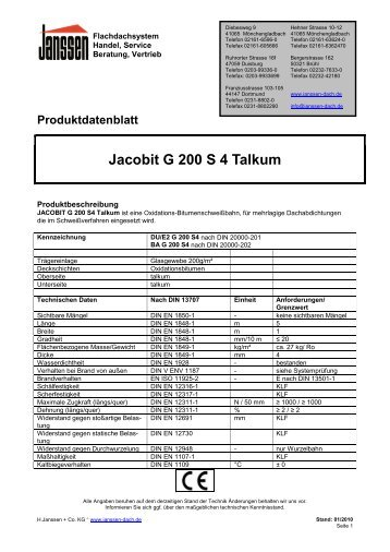 Produktdatenblatt Jacobit G 200 S 4 Talkum - H. Janssen & Co. KG