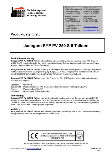 Jacogum PYP PV 250 S 5 Talkum - H. Janssen & Co. KG