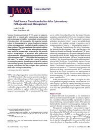 Fatal Venous Thromboembolism After Splenectomy - JAOA — The ...