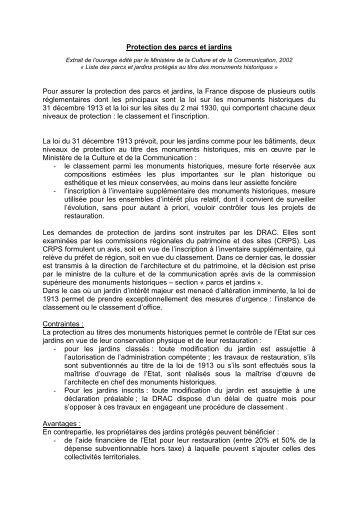 Protection des parcs et jardins - Comité des Parcs et Jardins de ...