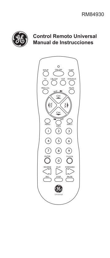 Control Remoto Universal Manual de Instrucciones ... - Jasco Products