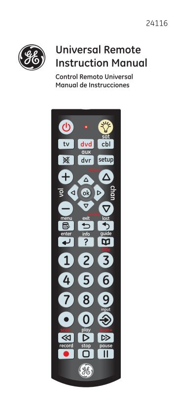 Universal Remote Instruction Manual - Jasco Products