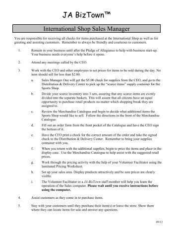 International Shop - Sales Manager