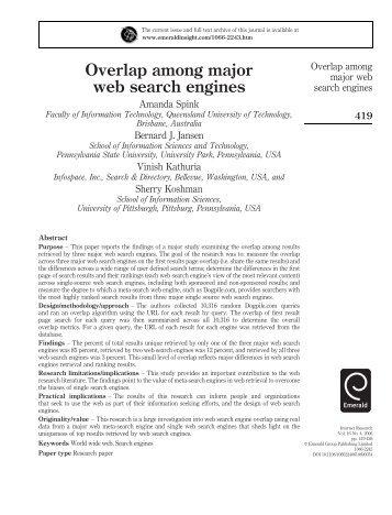 Overlap among major web search engines - Emerald