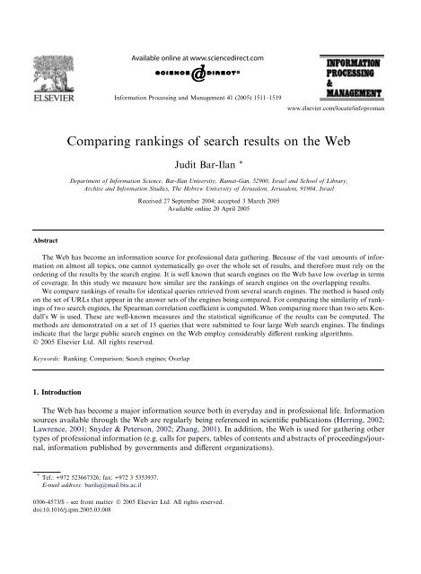 Comparing rankings of search results on the Web - Jason Morrison
