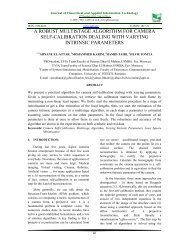 a robust multistage algorithm for camera self-calibration - Journal of ...