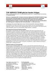 TOP SERVICE TEAM gibt bei Azubis Vollgas - JournalistenBüro Herne