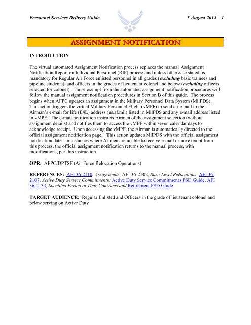 Assignment Notification Procedures