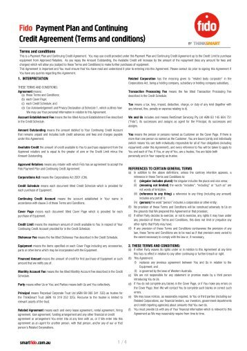 Credit Agreement (Terms and conditions) Payment Plan ... - JB Hi Fi