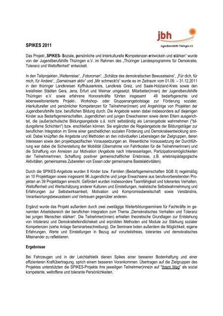 SPIKES 2011 - Jugendberufshilfe Thüringen e.V.