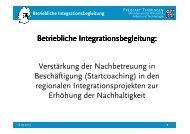 Betriebliche Integrationsbegleitung: Verstärkung der Nachbetreuung ...