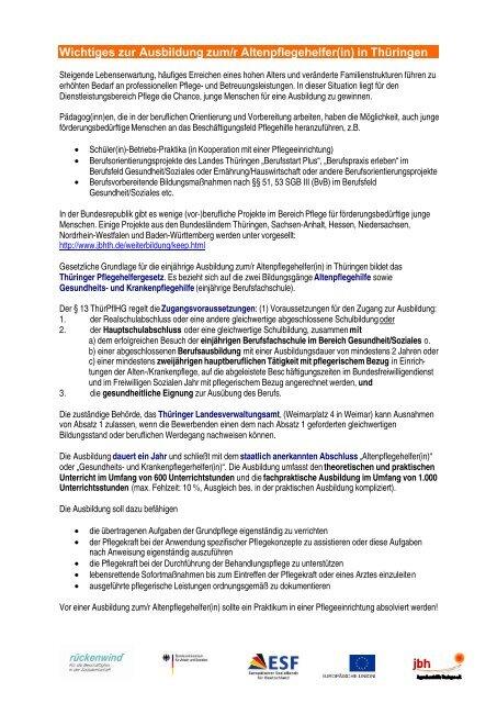 Wichtiges zur Ausbildung zum/r Altenpflegehelfer(in) in Thüringen