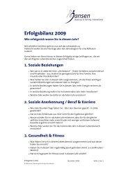 Erfolgsbilanz 2009 - Jansen Beratung & Training / Executive Coaching