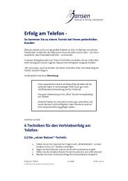 Erfolg am Telefon - - Jansen Beratung & Training / Executive Coaching