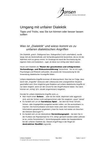 Unfaire Dialektik.pdf - Jansen Beratung & Training / Executive ...