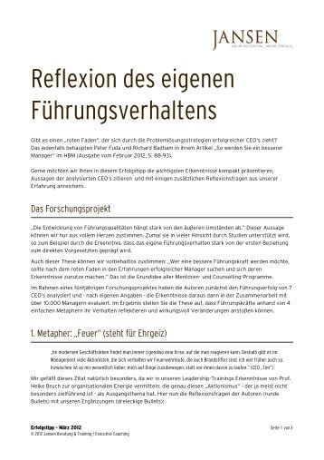Erfolgstipp 03_2012 - Reflexion - Jansen Beratung & Training ...