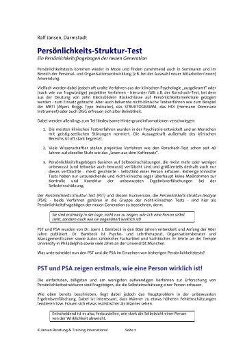 PST-Analyse - Jansen Beratung & Training / Executive Coaching