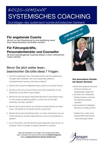 Basis-Seminar - Jansen Beratung & Training / Executive Coaching