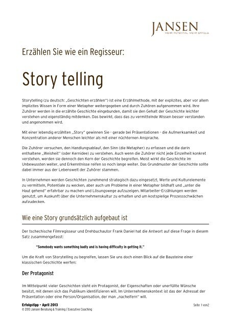 Story telling - Jansen Beratung & Training / Executive Coaching