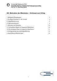 XIII. Motivation der Mitarbeiter – Schlüssel zum Erfolg