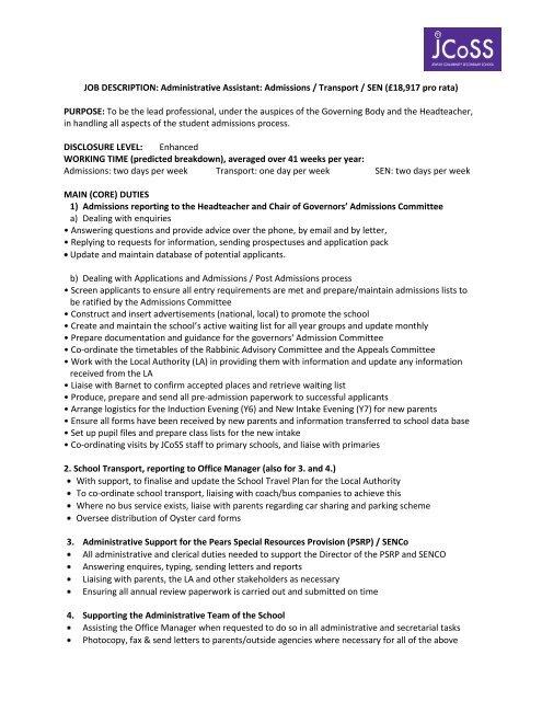 JOB DESCRIPTION: Administrative Assistant: Admissions