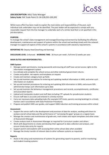 JOB DESCRIPTION: Office Manager NJC 31 £28,032 pro rata