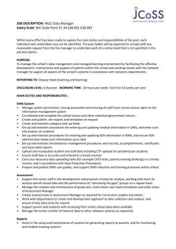 Job Description Job title: Sports Enrichment Manager Salary: circa ...