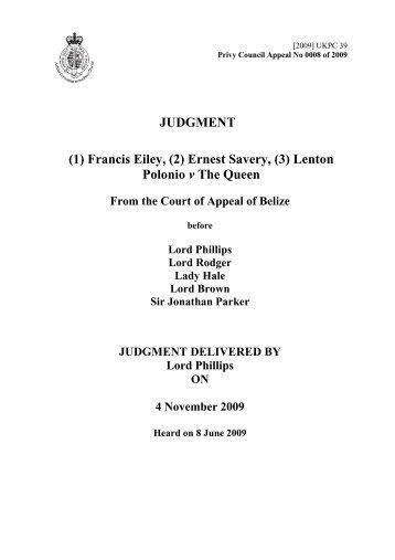 (1) Francis Eiley, (2) - Judicial Committee of the Privy Council