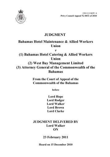 Bahamas Hotel Maintenance & Allied Workers Union v Bahamas ...
