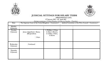 judicial sittings for hilary term - Judicial Committee of the Privy Council