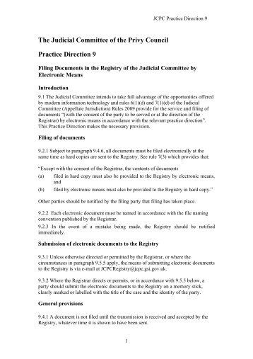 JCPC Practice Direction 9 - Judicial Committee of the Privy Council