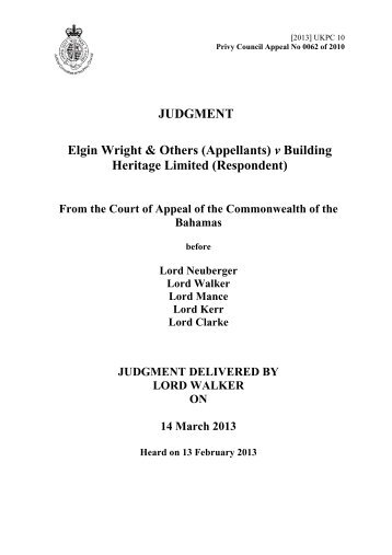 Elgin Wright & Others (Appellants) - Judicial Committee of the Privy ...