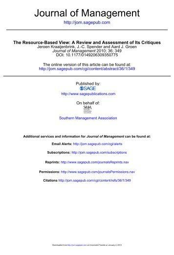 Journal of Management - JC Spender