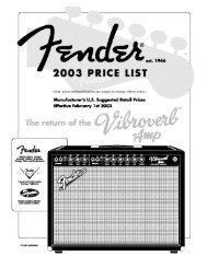 2003 Fender amp pricelist - Jedistar