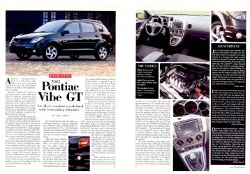 2003 Pontiac Vibe Test - Jeff Young Design
