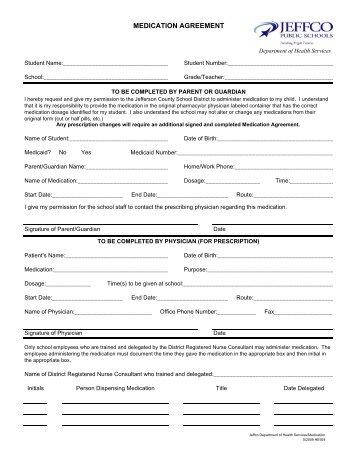 Medication Agreement Form - JEFFCO Public Schools