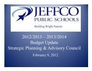 2012/2013 – 2013/2014 Budget Update Strategic Planning ...