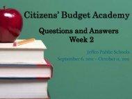 Citizens' Budget Academy - JEFFCO Public Schools