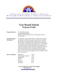 Year Round Schools - Jefferson County Public Schools