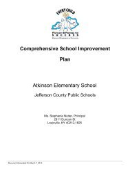 Comprehensive School Improvement Plan - Jefferson County Public ...