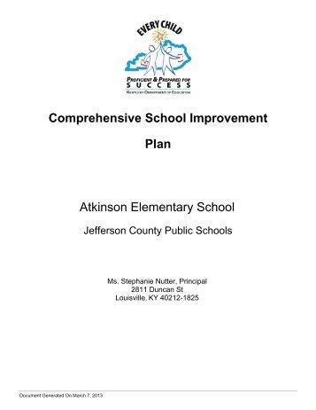 Comprehensive School Improvement Plan - Jefferson County Public ...