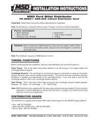 MSD 85821 Distributor Installation Instructions - Jegs