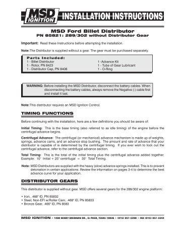 msd pro billet v8 distributor dalhems rh yumpu com Ford Electronic Distributor Wiring Diagram Mallory Unilite Distributor Wiring Diagram
