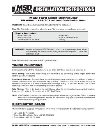 MSD 85821 Distributor Installation Instructions - Jegs