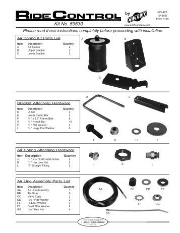 Air Lift 59530 Leveling Kit Installation Instructions - Jegs